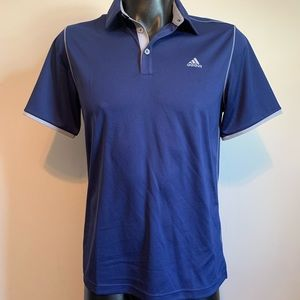 New Adidas men's blue polo shirt with gray trim